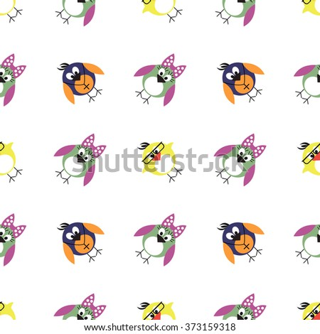 Seamless vector pattern with animals, cute background with birds, penguins and chicks. Series of Animals and Insects Seamless Patterns. - stock vector