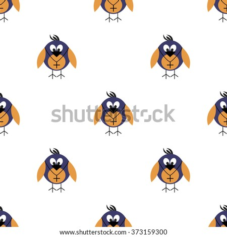 Seamless vector pattern with animals, cute symmetrical  background with birds. Series of Animals and Insects Seamless Patterns. - stock vector