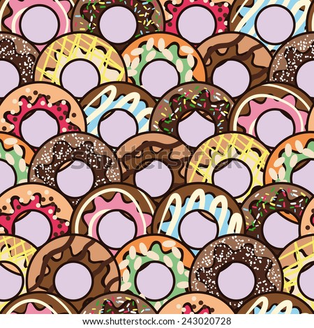 Seamless vector pattern with big cute freehand colorful donuts on violet background - stock vector