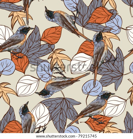 Seamless vector pattern with birds and autumn leaves