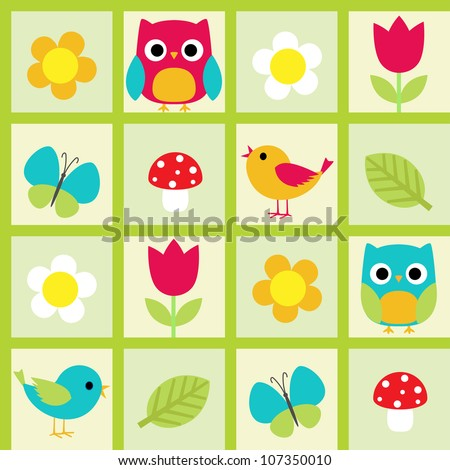 Seamless vector pattern with birds and flowers - stock vector