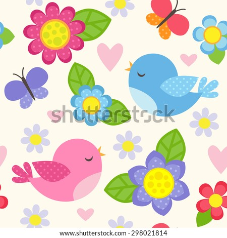 Seamless vector pattern with blue and pink birds, butterflies, hearts and flowers for girl. Romantic floral background for wedding, Valentines Day, textile or wrapping paper. - stock vector