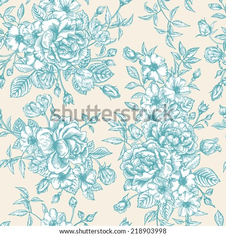 Seamless vector pattern with blue roses on a beige background. - stock vector