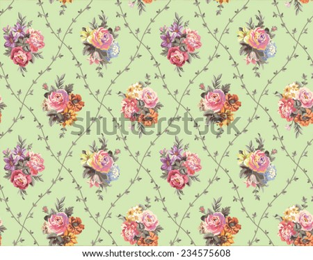 seamless vector pattern with bouquets of flowers on a green background - stock vector