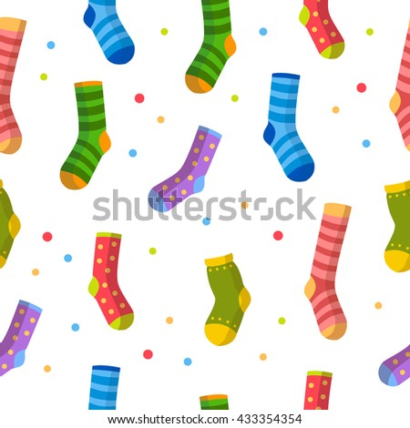 Seamless vector pattern with bright cartoon socks and multicolored spots. Cute clothes. Child summer illustration. - stock vector