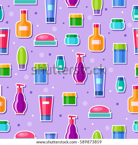 Seamless Vector Pattern With Bright Cosmetic Tubes Cartoon Bathroom Bottles Cute Spa Violet Background