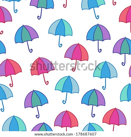 Seamless vector pattern with bright umbrellas