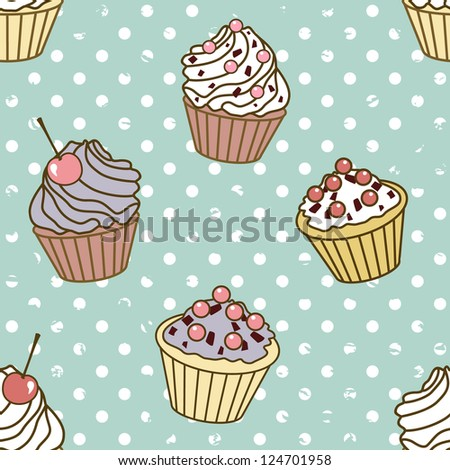 seamless vector pattern with cakes on vintage dot background - stock vector