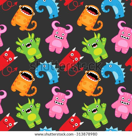 Seamless vector pattern with cartoon monsters - stock vector