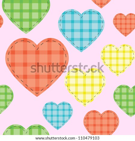 Seamless vector pattern with checkered hearts