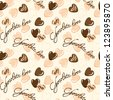 Seamless vector pattern with chocolate hearts - stock vector