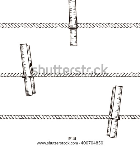 Seamless vector pattern with clothespins on rope.Black and white hand drawn texture - stock vector