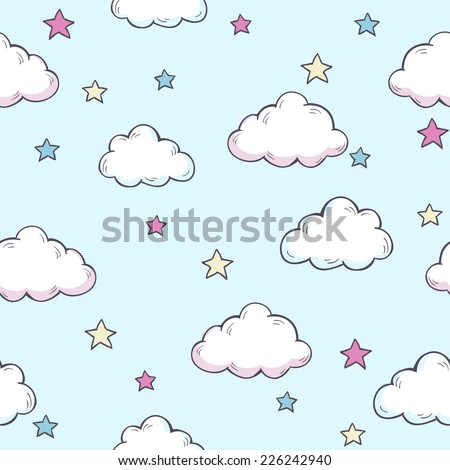 Seamless vector pattern with clouds and stars. - stock vector