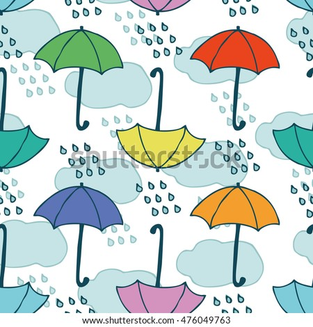 Seamless Vector Pattern with Clouds, Rain and Umbrellas on a White Background