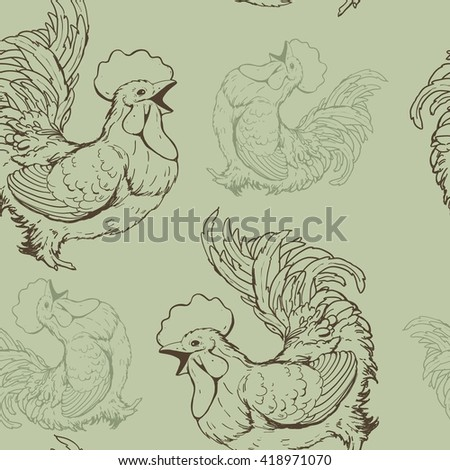 Seamless vector pattern with cock