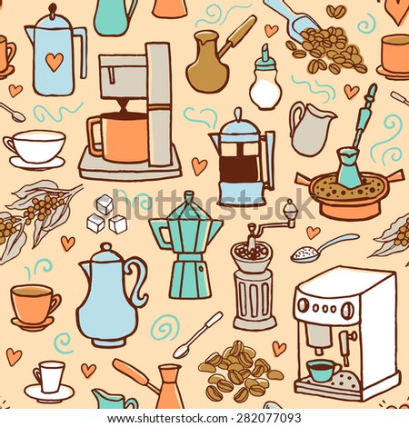 Seamless vector pattern with coffee beans, coffee pot, coffee maker, coffee mill cups.  Hand-drown vintage background. Pastel colors