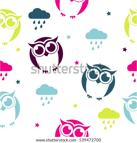 Vector brown silhouette owl on white stock vector 538465237 seamless vector pattern with colored owls and clouds on white background childish background for postcards voltagebd Gallery