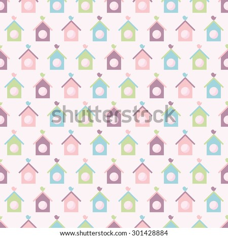 Seamless vector pattern with colorful birdhouse. For cards, invitations, wedding or baby shower albums, backgrounds, arts and scrapbooks.  - stock vector