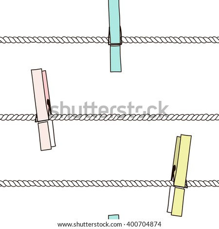 Seamless vector pattern with colorful clothespins on rope. Vector Illustration. - stock vector
