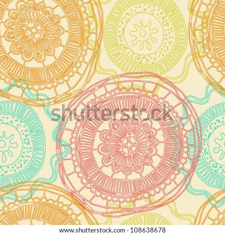 Seamless vector pattern with colorful hand drawn abstract elements - stock vector