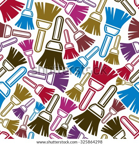 Seamless vector pattern with colorful renovation and repair instruments, brushes for wall painting. Graphic 3d reparation tools. High quality building theme continual background. - stock vector