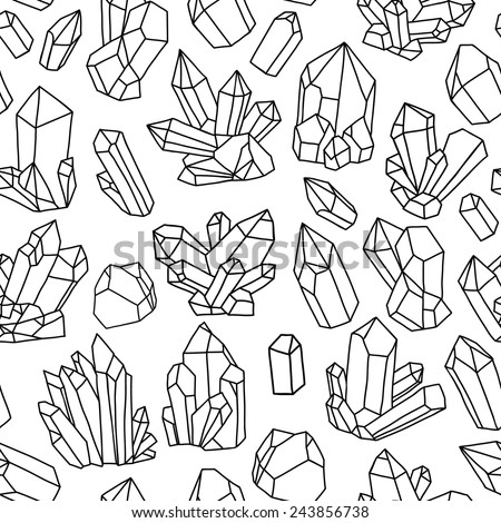 Seamless vector pattern with crystals. Black and white illustration - stock vector