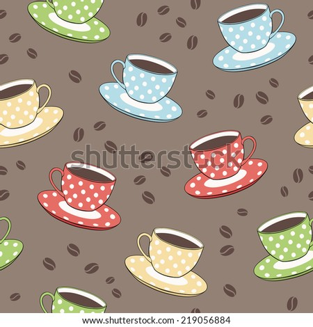 seamless vector pattern with cups and coffee beans - stock vector