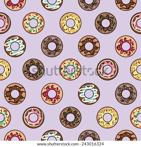 Seamless vector pattern with cute colorful freehand donuts on plain violet background - stock vector
