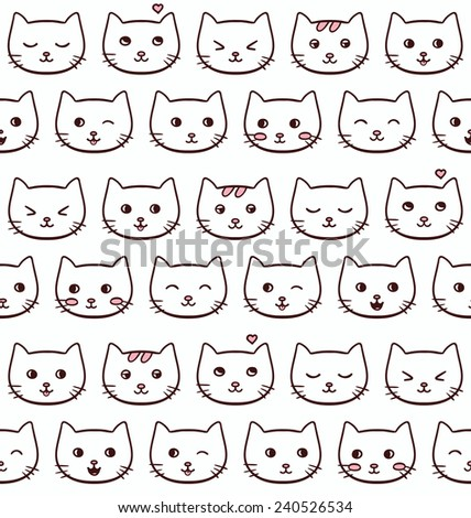 Seamless vector pattern with cute freehand emotional cats - stock vector