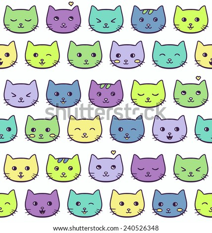 Seamless vector pattern with cute green, yellow, violet, blue freehand emotional cats on white background  - stock vector