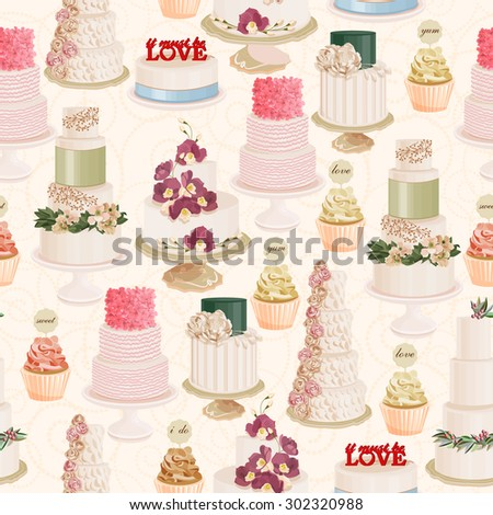 Seamless vector pattern with different wedding cakes in vintage style on light background - stock vector