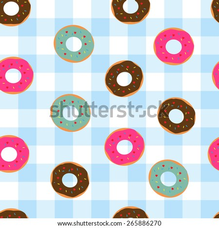 seamless vector pattern with donut on tablecloth - stock vector