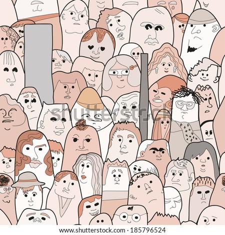 seamless vector pattern with doodled persons - stock vector