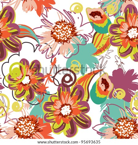 Seamless vector pattern with drawing flowers - stock vector