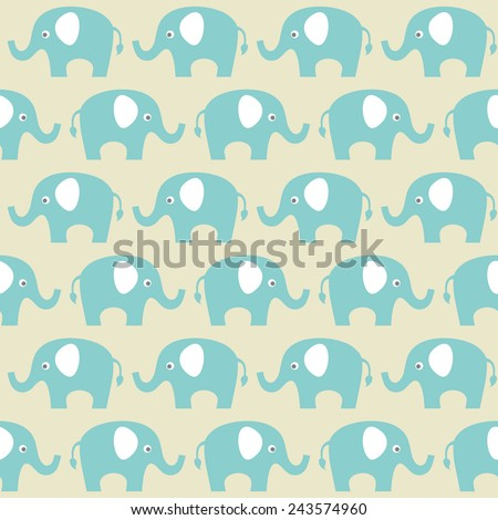 seamless vector pattern with elephants - stock vector