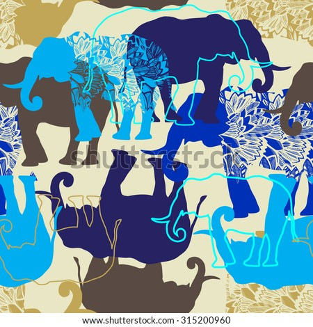Seamless vector pattern with elephants. - stock vector