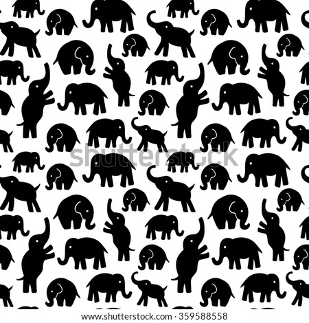 Seamless vector pattern with elephants. Can be used for textile, website background, book cover, packaging. - stock vector