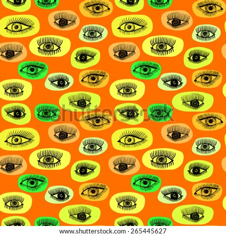 Seamless vector pattern with eyes motive