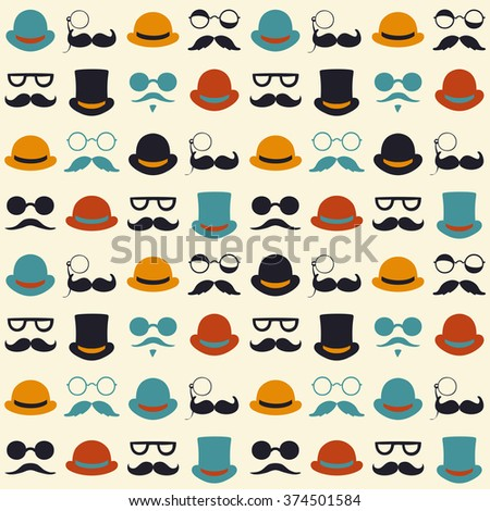 Seamless vector pattern with faces in hats. - stock vector