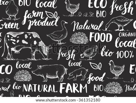 Seamless vector pattern with farm animals. Handwritten elements with rough edges. Food, farm, animals, natural. Ink brush hand lettering. Lettering. Vintage retro farm logo. Sketch. Farmers market. - stock vector