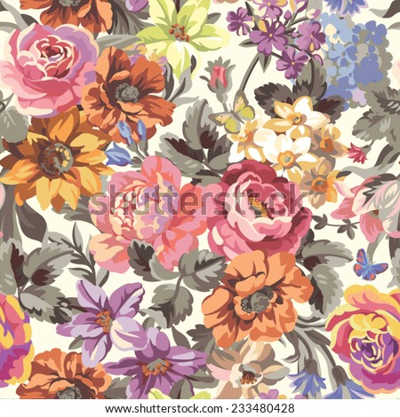seamless vector pattern with flowers - stock vector