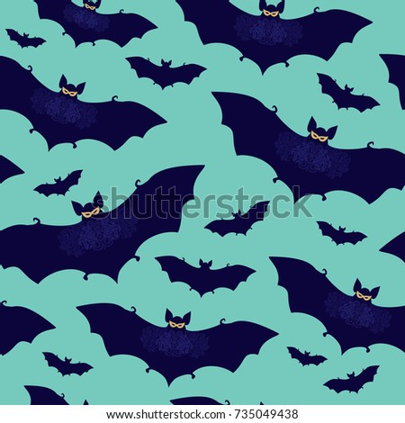 Seamless vector pattern with flying Halloween bats on turquoise background