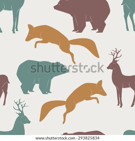 Seamless vector pattern with fox, deer and bear - stock vector