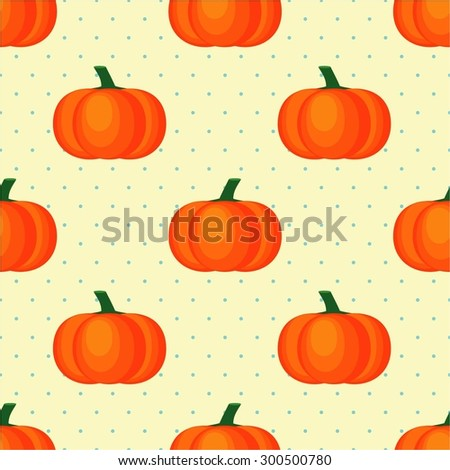 Seamless vector pattern with fresh ripe pumpkins on polka dots background. Vintage style colors. Autumn concept illustration. - stock vector
