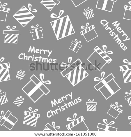 Seamless vector pattern with gift boxes and Merry Christmas text EPS8