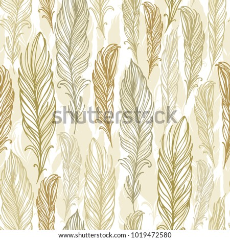 Seamless vector pattern with golden - beige  feathers on white background