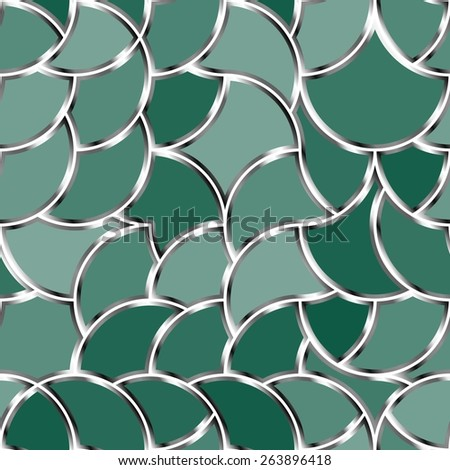 Seamless vector pattern with green tiles - stock vector