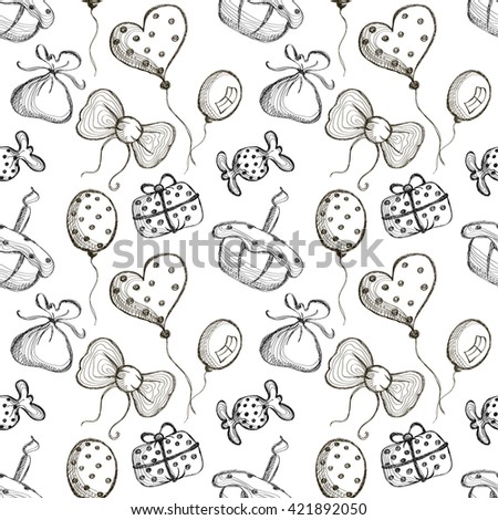 Seamless vector pattern with hand drawn air balloons, bows, gifts, cake, candy on the white background. Series of Cartoon, Doodle, Sketch and Hand drawn Seamless Patterns.