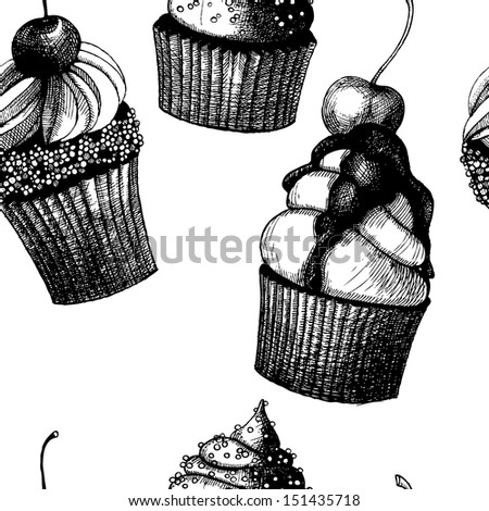 Seamless vector pattern with hand drawn cakes. Illustration on spotted background in black and white colors. - stock vector