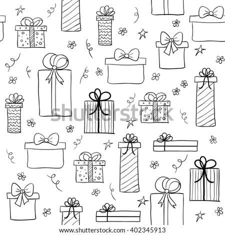 Seamless Vector Pattern With Hand Drawn Gift Boxes May Be Used As A Coloring Book